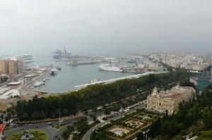 Widok naport zzamku Gibralfaro, Malaga, Hiszpania