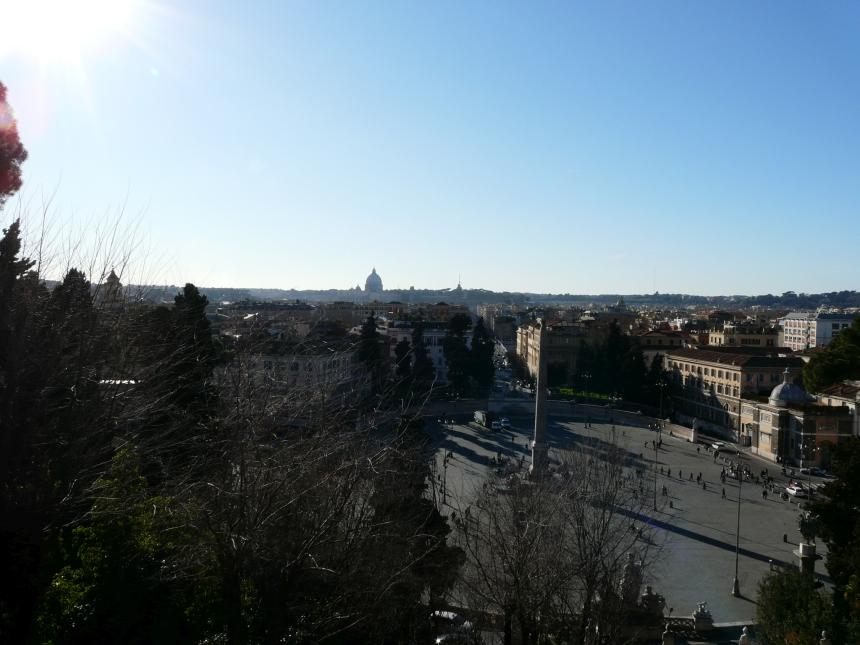 Piazza del Popolo, widok zulicy Adama Mickiewicza, Rzym