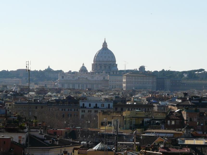 Widok zulicy Adama Mickkiewicza naBazylikę św. Piotra, Rzym