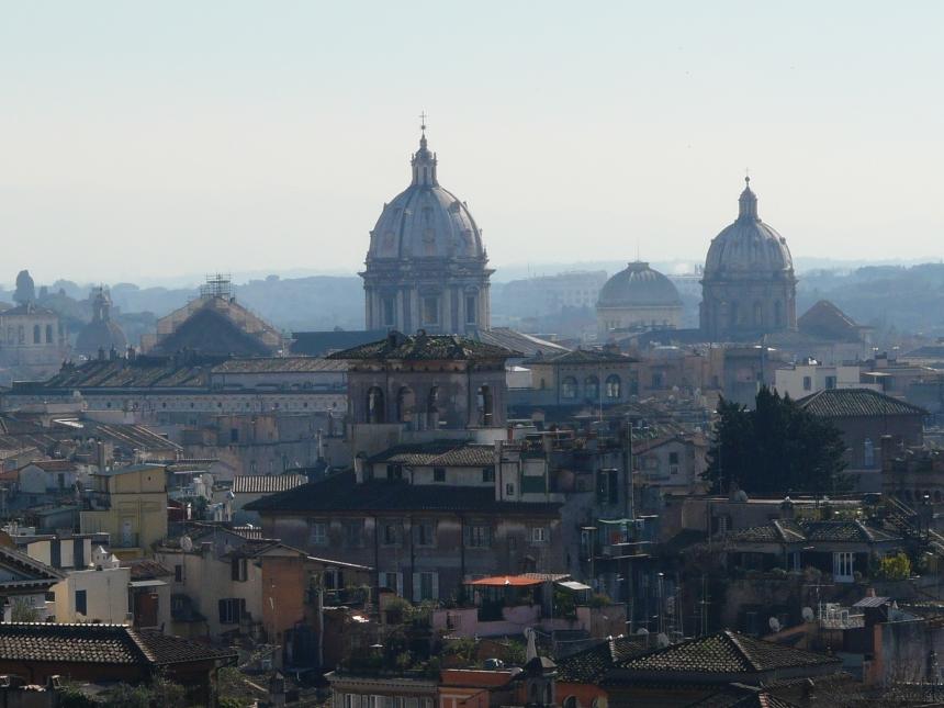 Widok naRzym zZamku św. Anioła, Włochy