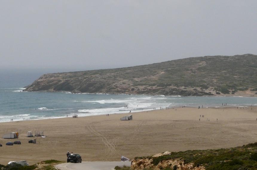 Prasonisi - miejsce gdzie Morze Egejskie styka się zMorzem Śródziemnym