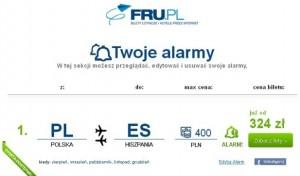 Wyniki alarmu cenowego waplikacji FRU.pl