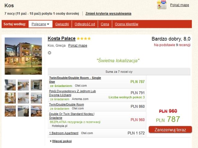 Przykładowa rezerwacja hotelu Kosta Palace, Kos, Grecja