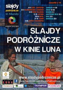Slajdy podróżnicze In Mundo wwarszawskim kinie Lunie - plakat