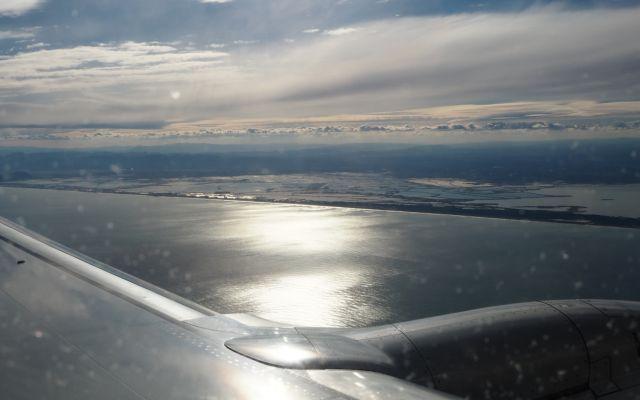 Widok zsamolotu Ryanair, gdzieś nadHiszpanią