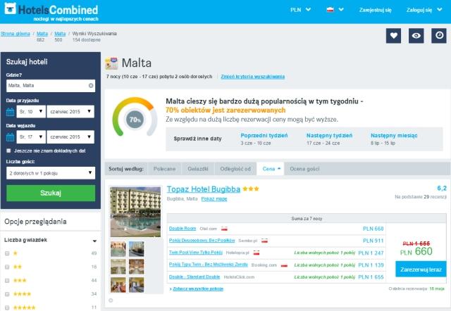HotelsCombined - idealny nocleg naMalcie