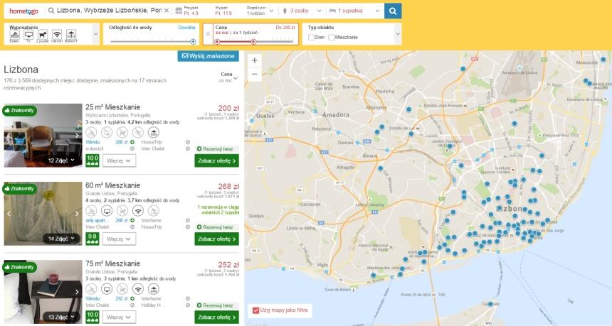 HomeToGo - wyszukiwanie noclegów wLizbonie