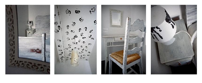 Hostel Oki Doki Warszawa, pokój Dom 1001 ręki, kolaż
