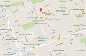 Hostel Oki Doki Warszawa - mapa