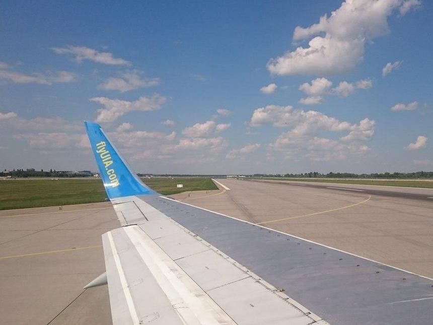 Kijów - widok zsamolotu ukraine international airlines