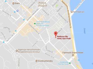 Lokalizacja hotelu Radisson Blu Kijów Podil