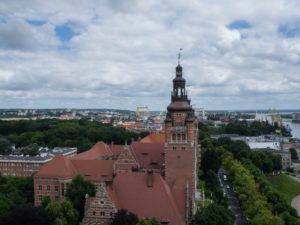 Widok naSzczecin zwieży widokowej Muzeum Narodowego, Wały Chrobrego