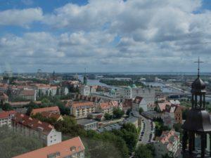 Widok zwieży katedralnej naSzczecin