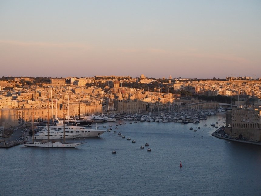 Widok zOgrod Barrakka naport, Valletta