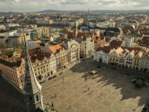 Widok naPilzno zwieży katedralnej, Czechy