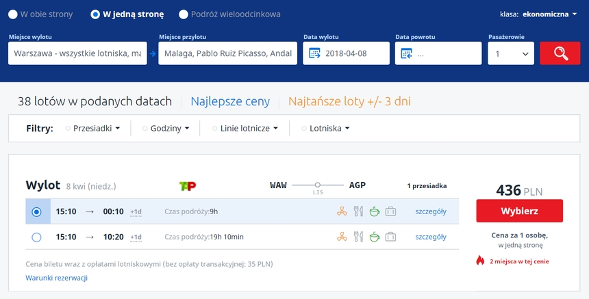 Lot Warszawa - Malaga, Infoloty.pl