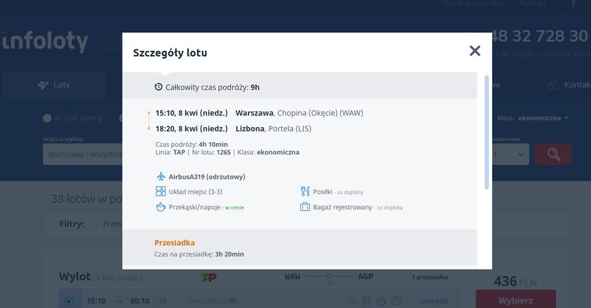 Szczegóły lotu Warszawa-Malaga, Infoloty.pl