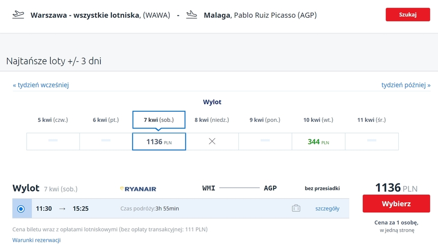 Lot Modlin-Malaga, Ryanair, Infoloty.pl