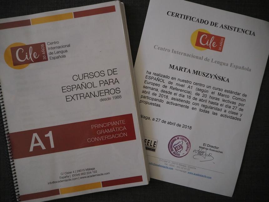 Certyfikat ukończenia kursu języka hiszpańskiego wAcademii CILE, Malaga