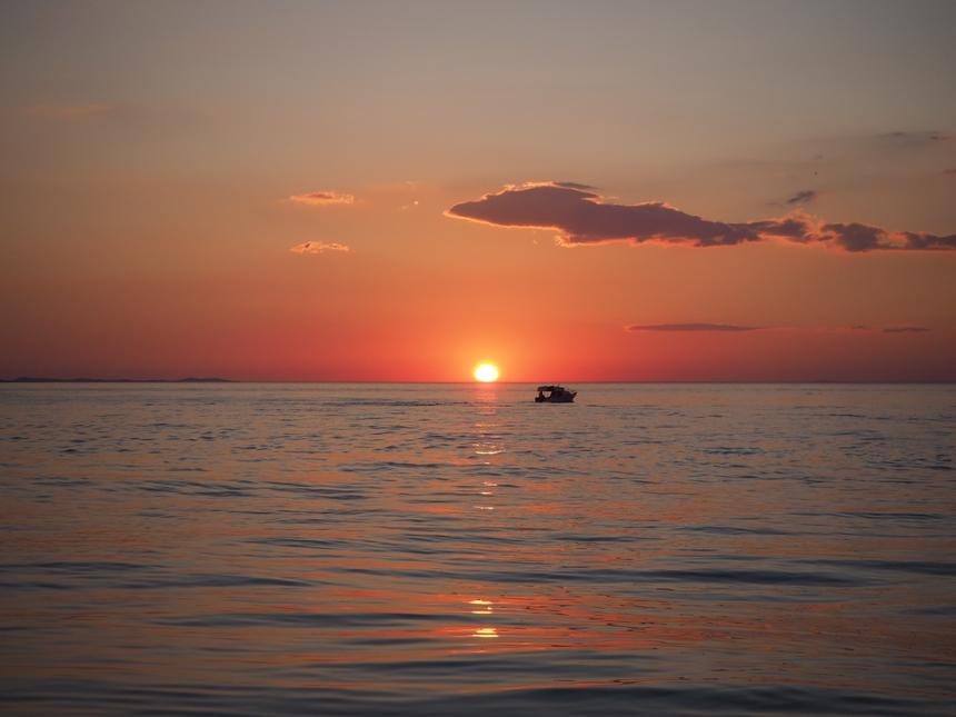 Zachód słońca w Zadarze, Chorwacja