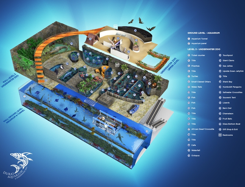Dubai Aquarium & Underwater Zoo - mapa, Dubaj