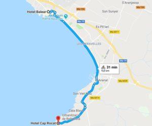 Mapa mojej trasy rowerowej poMajorce