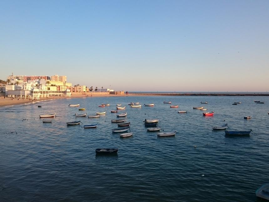 Plaża La Caleta ozachodzie słońca, Kadyks