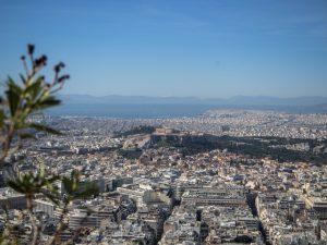 Widok naAkropol ze wzgórza Likawitos, Ateny