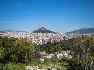 Widok ze wzgórza Filopapposa naAteny