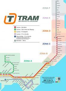 Mapa linii tramwajowej wAlicante iokolicach, Costa Blanca, Hiszpania
