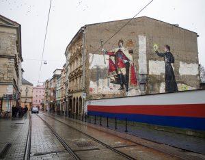 Mural zkrólem Edwardem VII iMarią Skłodowską-Curie, Ołomuniec