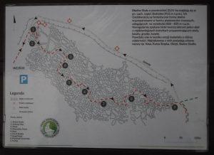 Trasa naBłędnych Skałach znazwami poszczególnych głazów, Góry Stołowe