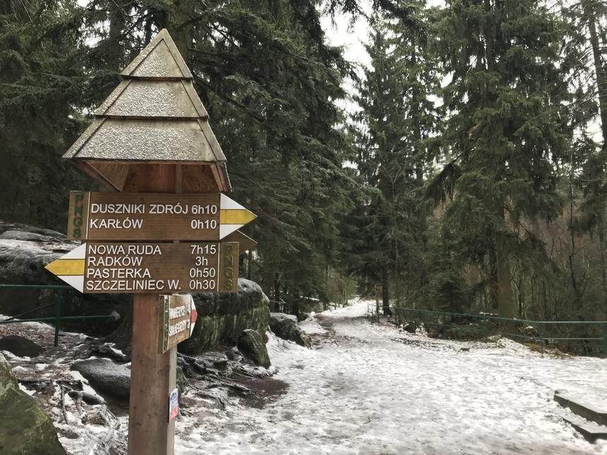 Początek trasy naSzczeliniec Wielki, Góry Stołowe
