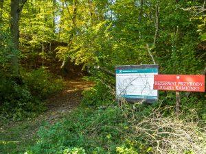 Wejście doRezerwatu Przyrody Dolina Kamionki wokolicach Mniszek