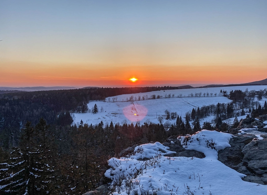 Zachód słońca naNarożniku wGórach Stołowych