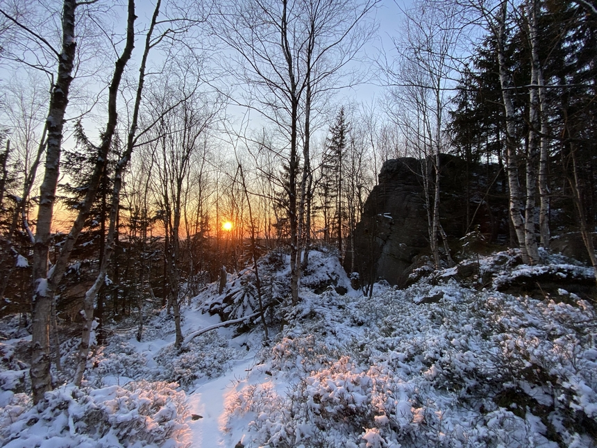 Zachód słońca naNarożniku, Góry Stołowe